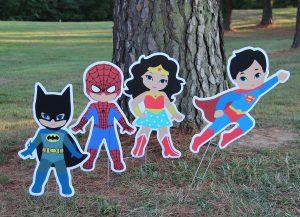 Wonder Woman, Spider Man, Batman, Super Man