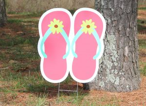 Flip Flops-Pink with Yellow Flower
